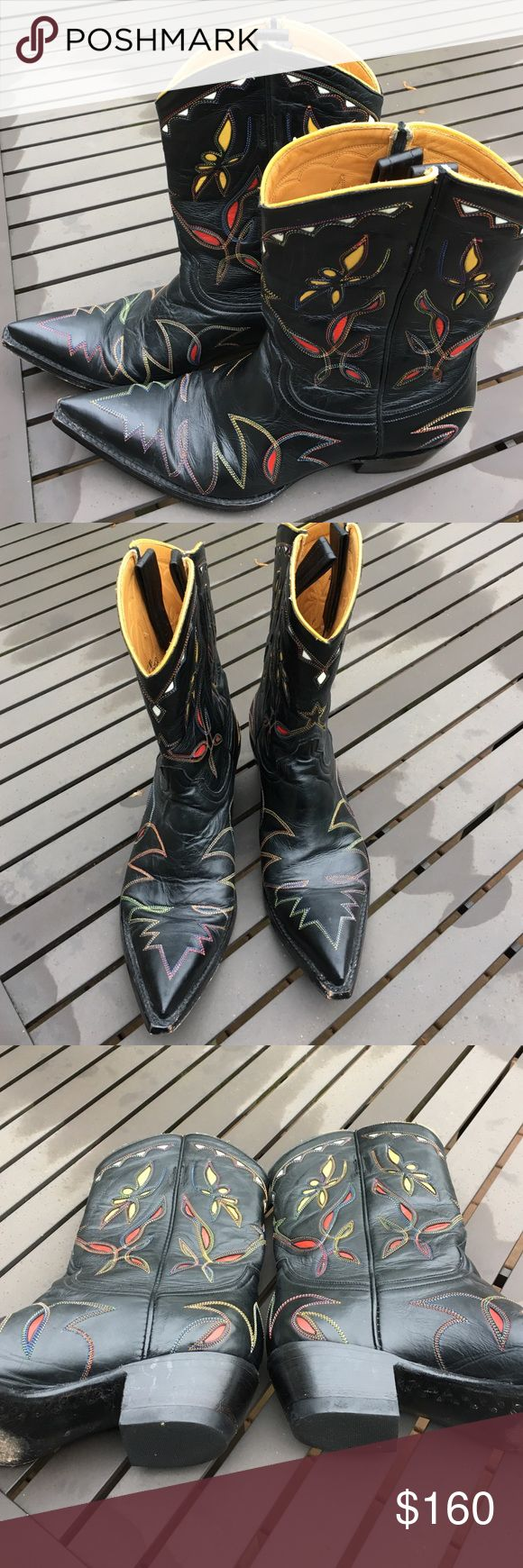 Old Gringo Cowboy Boots 7B These great Old Gringo were only worn a few times. The colorful inserted pattern and colored stitching makes these super special. Old Gringo Shoes Heeled Boots
