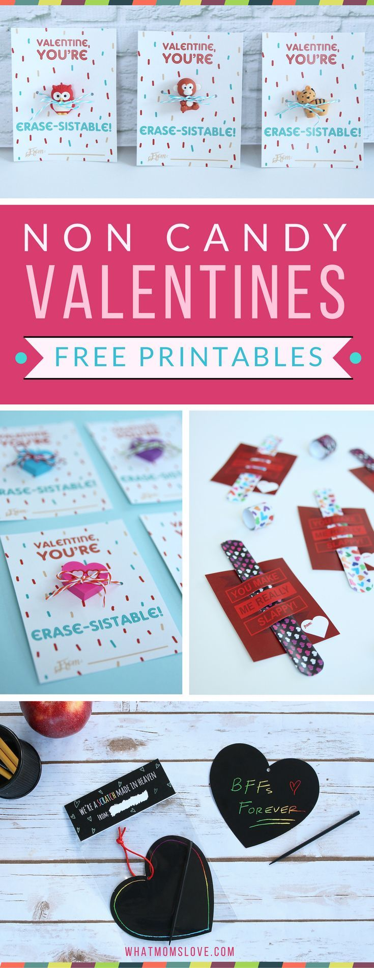 Free Printable No Candy Valentines Day Cards for your kids - these are the perfect cards for your child to hand out in their school classroom. Such cute and creative designs! See them all at whatmomslove.com