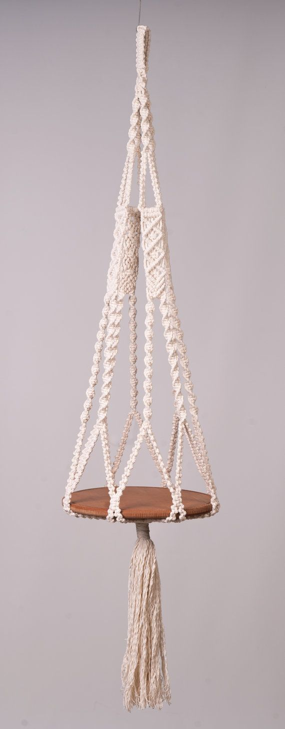 Macrame hanging table or plant hanger in off white, 5 mm cotton corduroy, modern, home decor and flower holder, boho shower gift