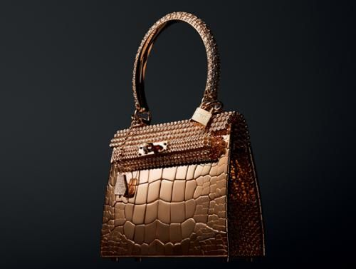 Hermes Kelly and Birkin bags are crafted from gold and then bedazzled with thousands of precious stones—only three of each style will be made. Price: 1.9 million
