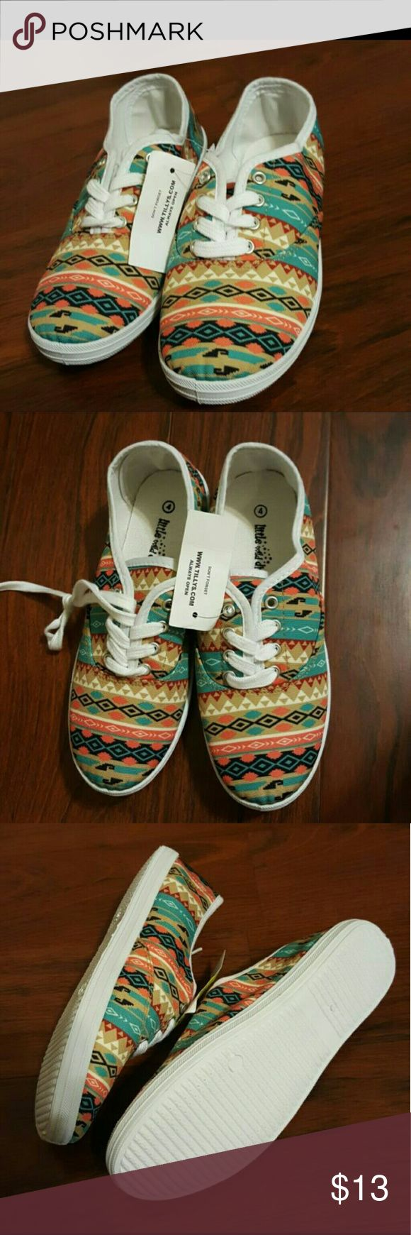 Tillys Aztec Print Shoes BRAND NEW WITH TAGS never worn  Says size 4 but is equivalent to a woman's size 7 (: Tilly's Shoes Sneakers