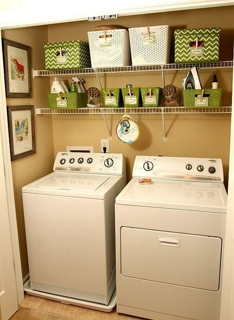 Small laundry room idea? Not bad... Although I dont think I need that much organization. I DO need shelves, and some cute decor!