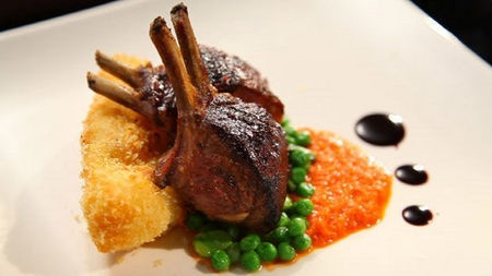 Roast Lamb Rack with Sweet Pepper Purée and Potato Croquettes