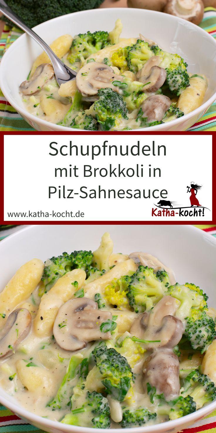 Schupfnudeln mit Brokkoli in Pilz-Sahnesauce