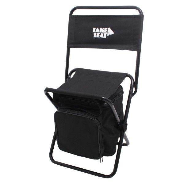 """Picnic Seat Black """"Take A Seat"""" Praktische stoel is voorzien van een complete 1- persoons picknickset bestaande uit een bord, bestek en beker. #Picknick #Festival"""
