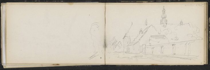 Gezicht op het Koninklijk Weeshuis te Buren, Cornelis Springer, ca. 1863 Gezicht op het Koninklijk Weeshuis te Buren en zijn ommuurde tuin. Blad 20 verso en blad 21 recto uit een schetsboek met 55 bladen vervaardigd op de Veluwe en in Noord-Duitsland.
