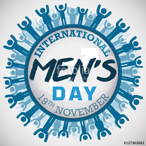 Button with a Masculine Multitude Commemorating International Men's Day