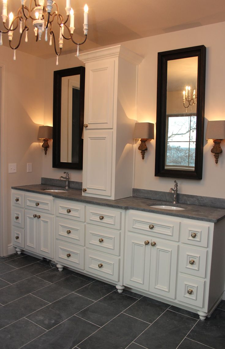 Master Bathroom Soapstone Countertops Slate Floors Sw Westhighland White Painted Cabinets