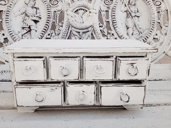 WOOD JEWELRY CHEST cottage white jewelry box by SouthamptonVintage