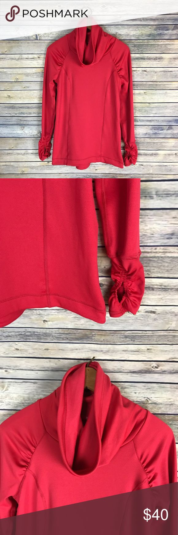 "Calia Carrie Underwood Red Funnel Neck Pullover Very cute bright reddish-coral long sleeve funnel neck sweatshirt. Perfect for your morning jog. Very gently used with no flaws. From Carrie Underwood's Calia athletic wear line.   Measurements laying flat (without stretching)— -Armpit to armpit: 18"" -Length, shoulder to hem: 26"" CALIA by Carrie Underwood Tops Sweatshirts & Hoodies"