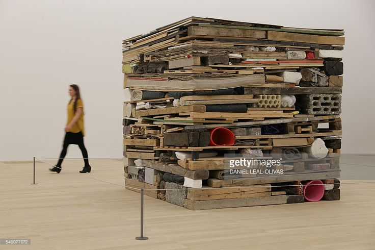 the artwork 'Stack', 1975 by Tony Cragg in the new Switch House extension of the Tate Modern in London on June 14, 2016.
