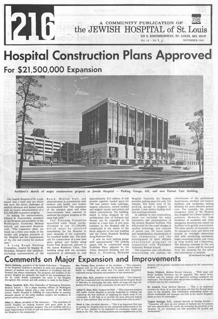 Jewish Hospital Construction Plans Approved. 1969
