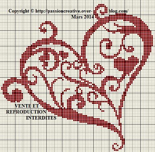 187 best images about Amour-Love-Coeur-heart-point de croix-cross stitch on Pinterest   Free ...