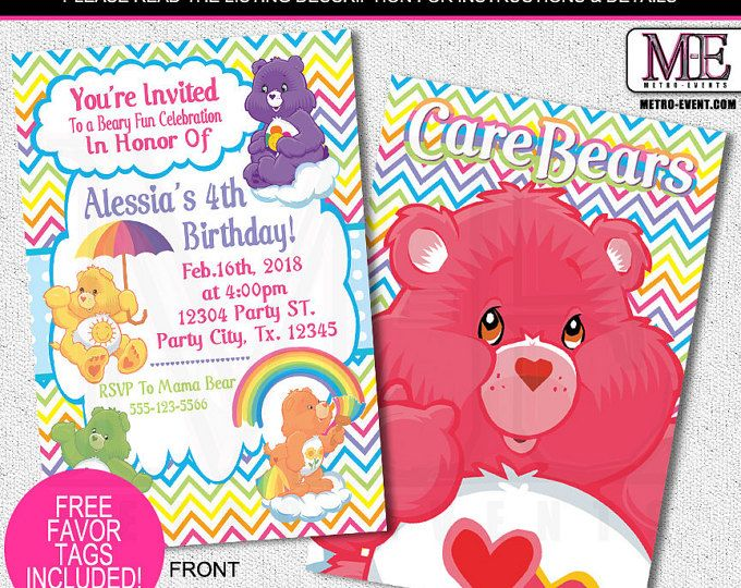 189 best Kids Birthday Invitations images – Care Bear Birthday Invitations