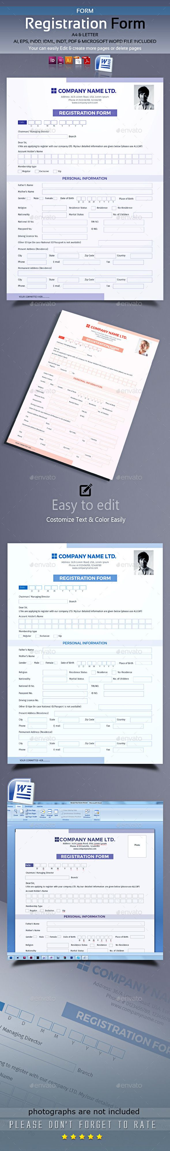 Registration Form — Vector EPS #letter #enlist • Available here → https://graphicriver.net/item/registration-form/10379487?ref=pxcr