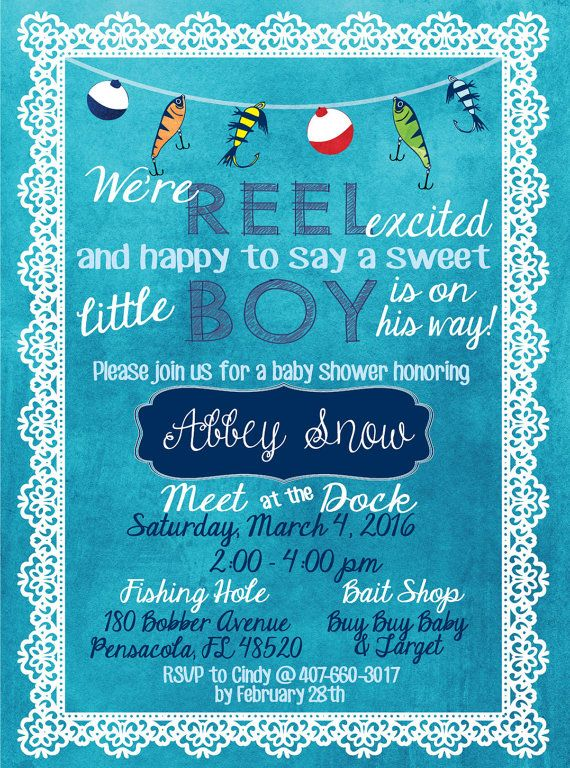Reels & Bobbers Collection: Invitation: A pretty watercolored background with lace frame. Cute fishing lure and bobber designs along with fishing themed wording makes this perfect for a little boys baby shower! Light blue, navy, & white color scheme.  Invite your guests to your themed baby shower with our Reels & Bobbers invitation. Our standard invite is 5 x 7 inches and formatted as a JPEG. **Matching diaper raffle & book request sold separately. See link below.**  https:&#x...