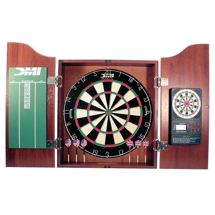 5 Piece Dartboard Cabinet Set with Electronic Scorer