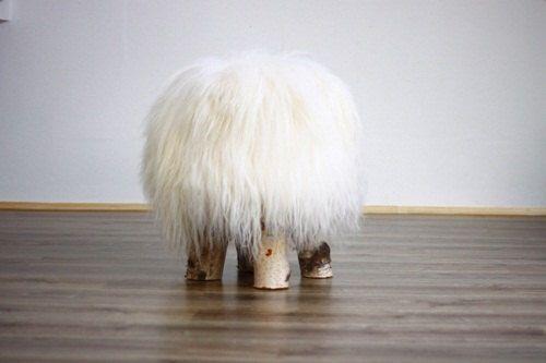 Icelandic Sheepskin Stool | Sheepskin pouf | Sheepskin Chair | Wooden stool | Rustic stool | dressing table stool | White Stool by naturalsheepskin on Etsy https://www.etsy.com/listing/241997861/icelandic-sheepskin-stool-sheepskin-pouf