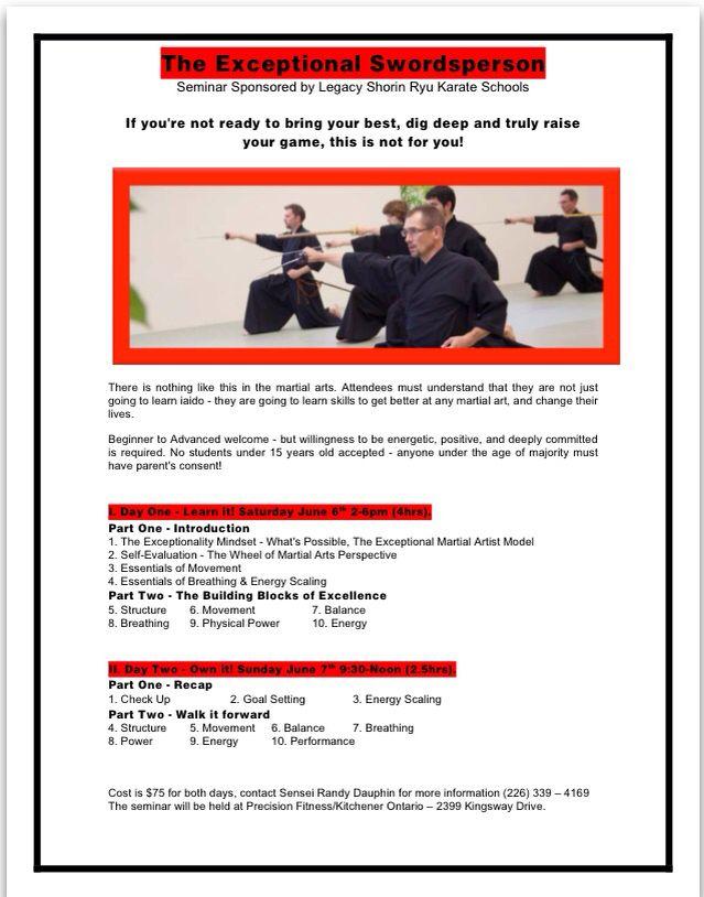 Iaido seminar in Kitchener June 6 and 7. Samurai - martial arts - katana - sword - Japan.