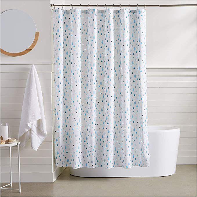 Amazonbasics Raindrop Shower Curtain Aqua Shower Drapes