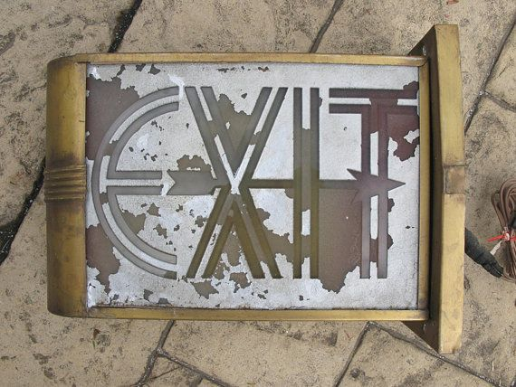 Vintage Hotel Taft Light Fixture Exit Sign Art by SasolineVintage