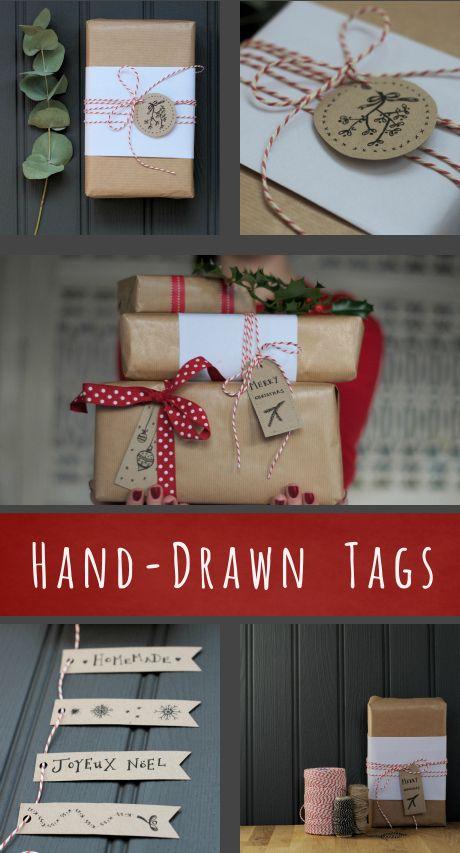 Free printable! 16 illustrated Christmas gift tags