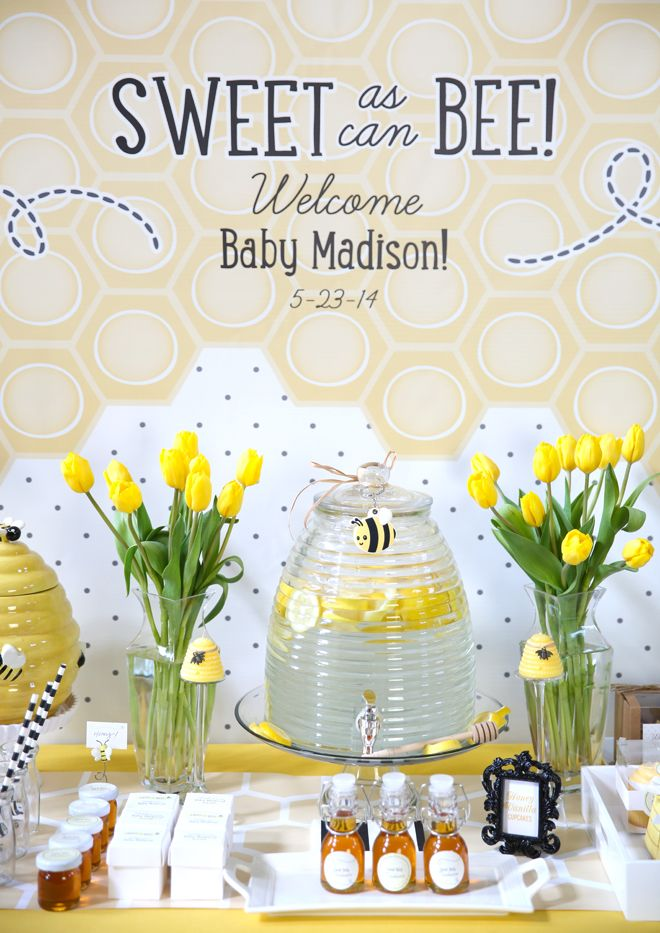 """""""Sweet as Can BEE"""" Baby Shower on http://pizzazzerie.com. I have this bee hive dispenser but mine also has a wonderful black iron stand with bees on it."""