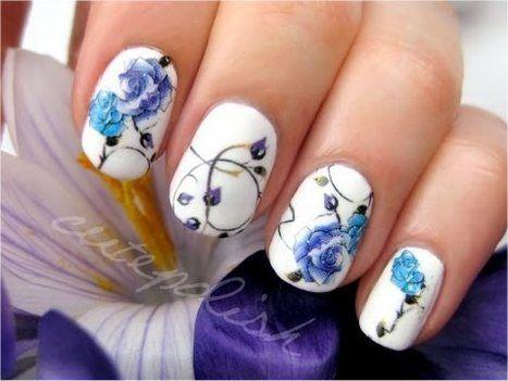Blue Rose Tattoo Nails  Use temporary tattoos, awesome!