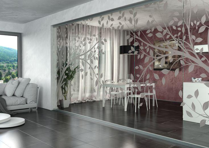 Celoskleněná stěna JAP, s pískovaným motivem, dodá interiéru vzdušnost a lehkost a originalitu#sklo#design#interier#bydleni#house#pískovanésklo#sandblasted#doors#dveře#door#modern#pocketdoors#glassdoors#