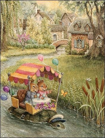 Book illustration by Susan Wheeler. This takes me back to my childhood with the type of books I would read, alot of them had this illustrated style. Full of detail and bright colors with cute animal characters.