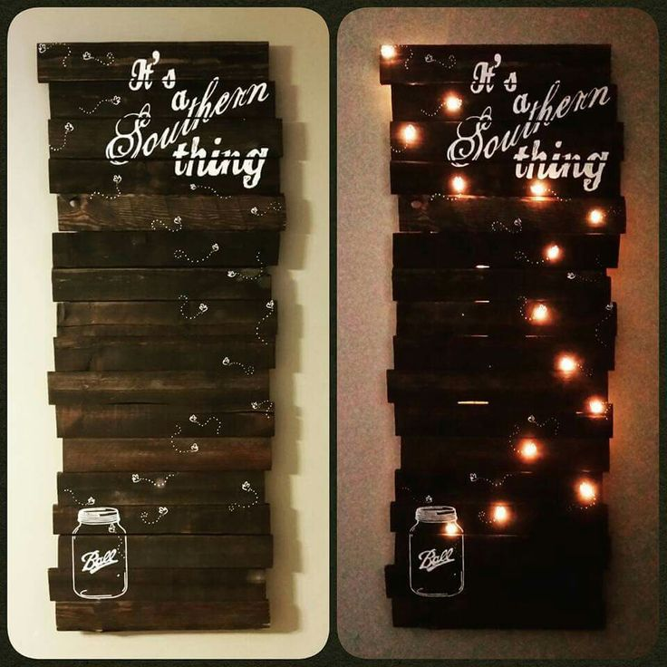 Handcrafted pallet board sign with lights set on a timer. My absolute favorite piece created. It's a Southern thing. Fireflies and mason jars. Created by Kandess Williams of A Lil Bit Rustic    facebook.com/alilbitrustic