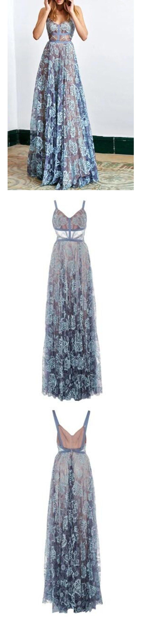Chic Prom Dresses Spaghetti Straps Floor-length Lace Sexy Prom Dress/Evening Dress JKL188