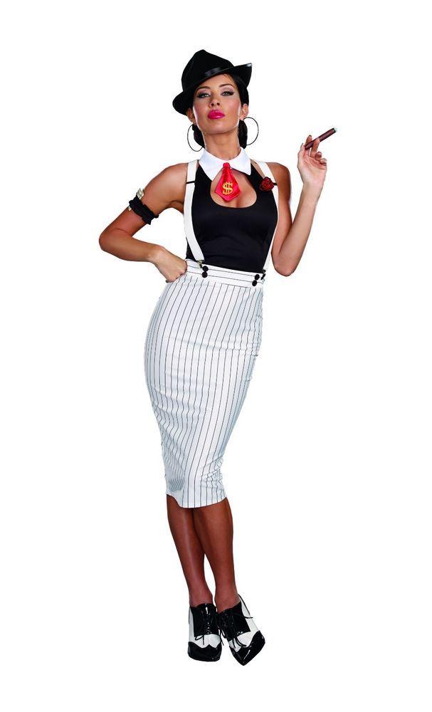 Amazing FANCY DRESS COSTUME LADIES 1920 S GANGSTER S MOLL MAFIA DRESS SMALL 8
