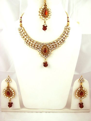 Kundan Jewelry, Bridesmaid Necklace, Bridal Jewelry Set, Bridal Necklace Set with Earring Maang Tikka Mogul Interior, http://www.amazon.com/dp/B0093Y3254/ref=cm_sw_r_pi_dp_vlJRqb12DRTX7
