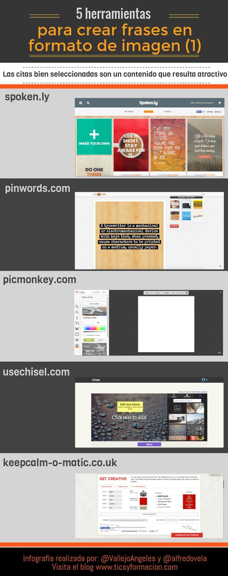 Hola: Una infografía con 5 herramientas online para crear frases en formato de imagen (1). Infografía realizada con Piktochart. Un saludo