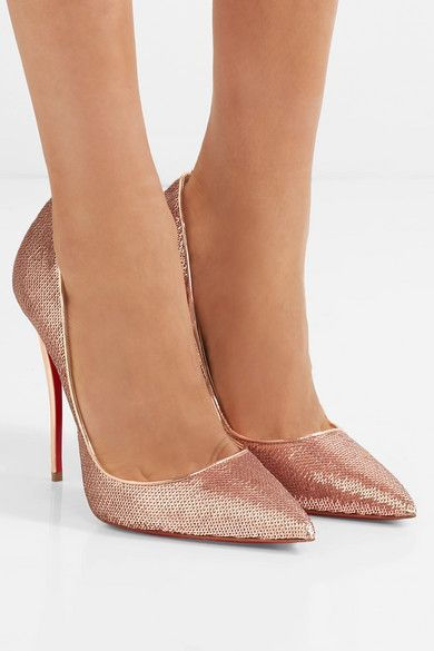 dc630d7b7 Heel measures approximately 120mm/ 5 inches Rose gold sequined canvas and  leather Slip on Made in Italy