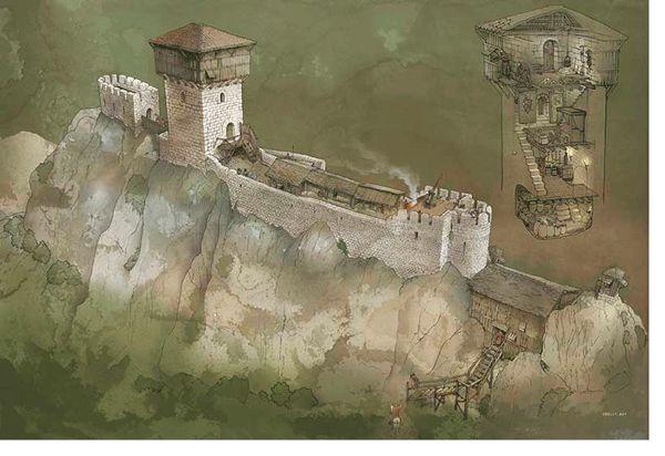 Recreación del Castillo de Portilla en el siglo XII