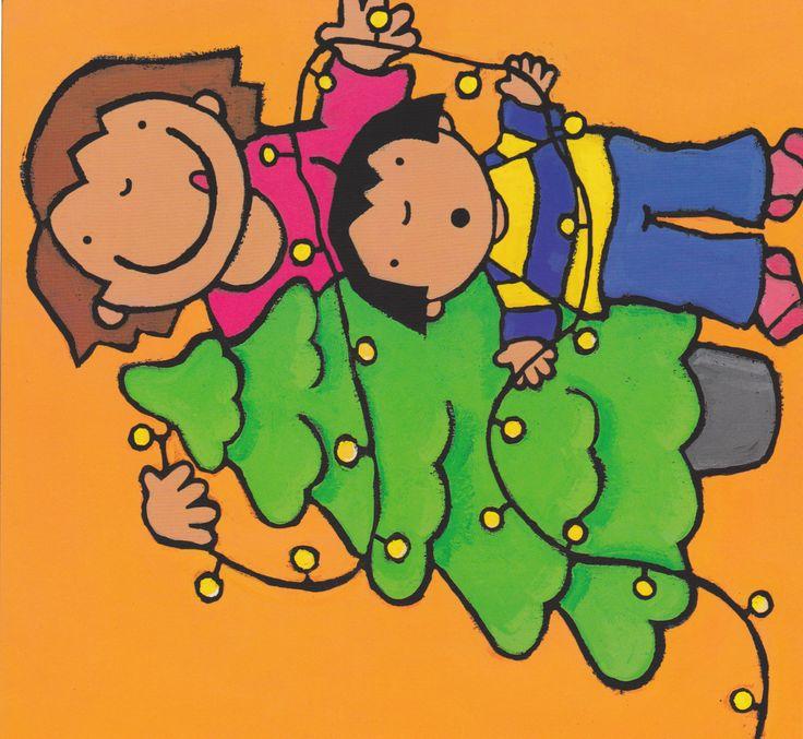 Anna en mama versieren de kerstboom