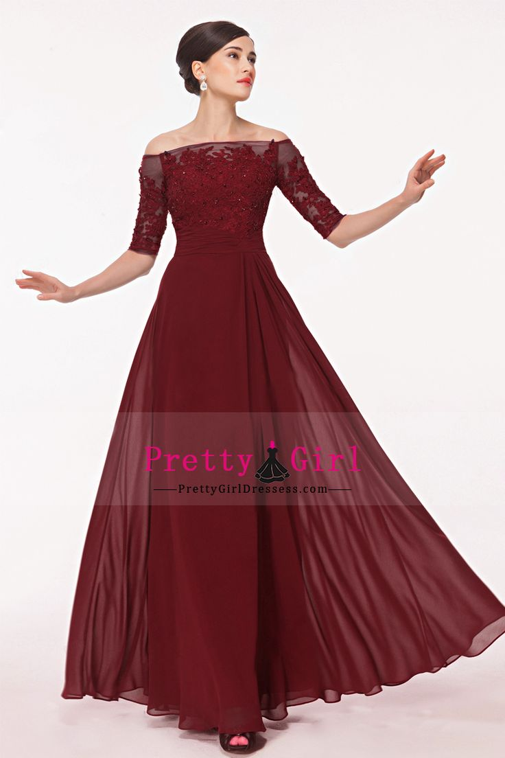 2016 Prom Dresses Burgundy/Maroon Boat Neck Mid-Length Sleeve With Applique And Beads Chiffon US$ 169.99 PGDPAQ97TP6 - PrettyGirlDressess.com for mobile