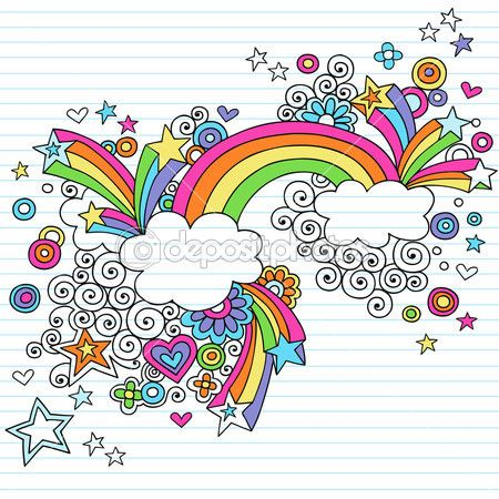 Hand-Drawn Psychedelic Rainbow, Clouds, and Stars Notebook Doodle by blue67 - Imagen vectorial
