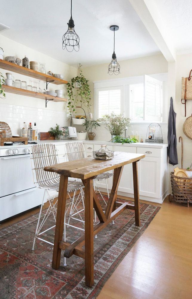 open boho kitchen + seating area