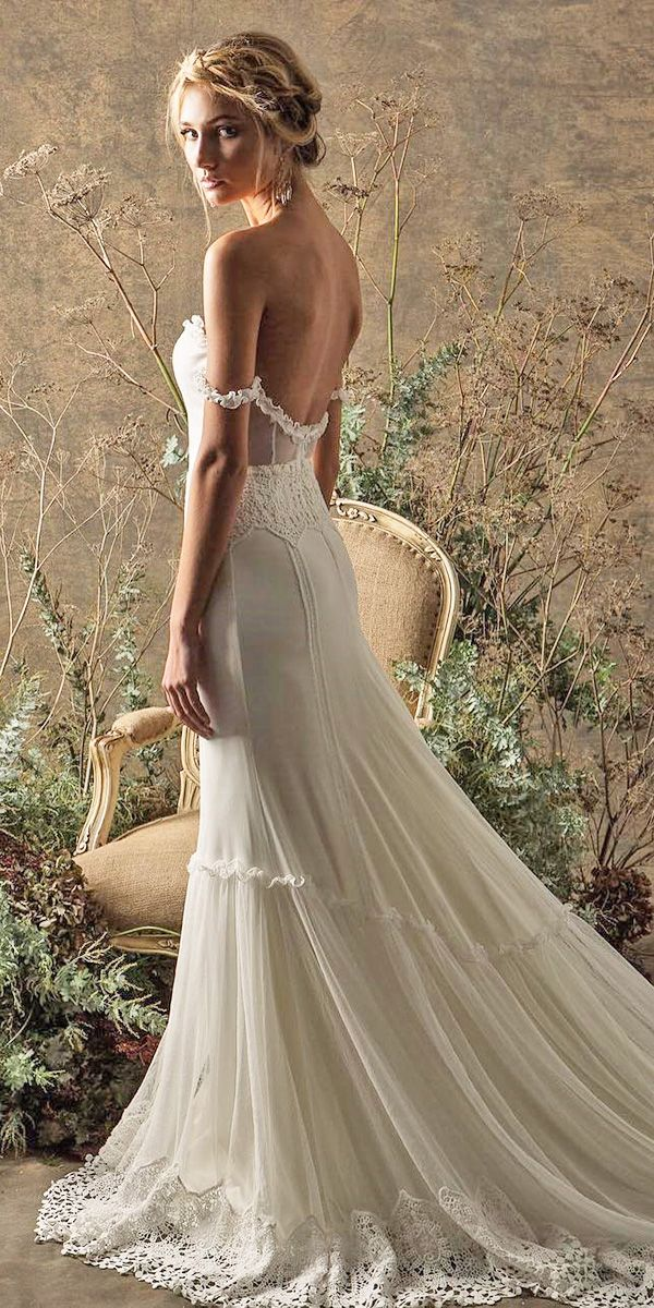 boho off the shoulder simple open back wedding dresses with train