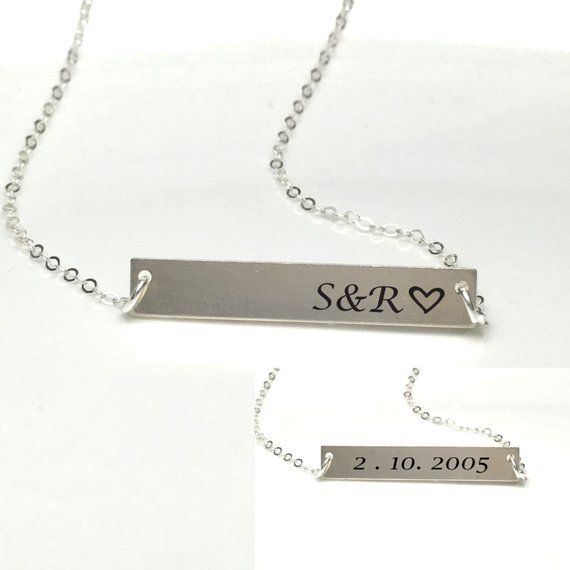 Anniversary Necklace Wedding Gift 1year Anniversary Etsy Personalized Memorial Necklace Anniversary Necklace Cute Necklaces For Girlfriend