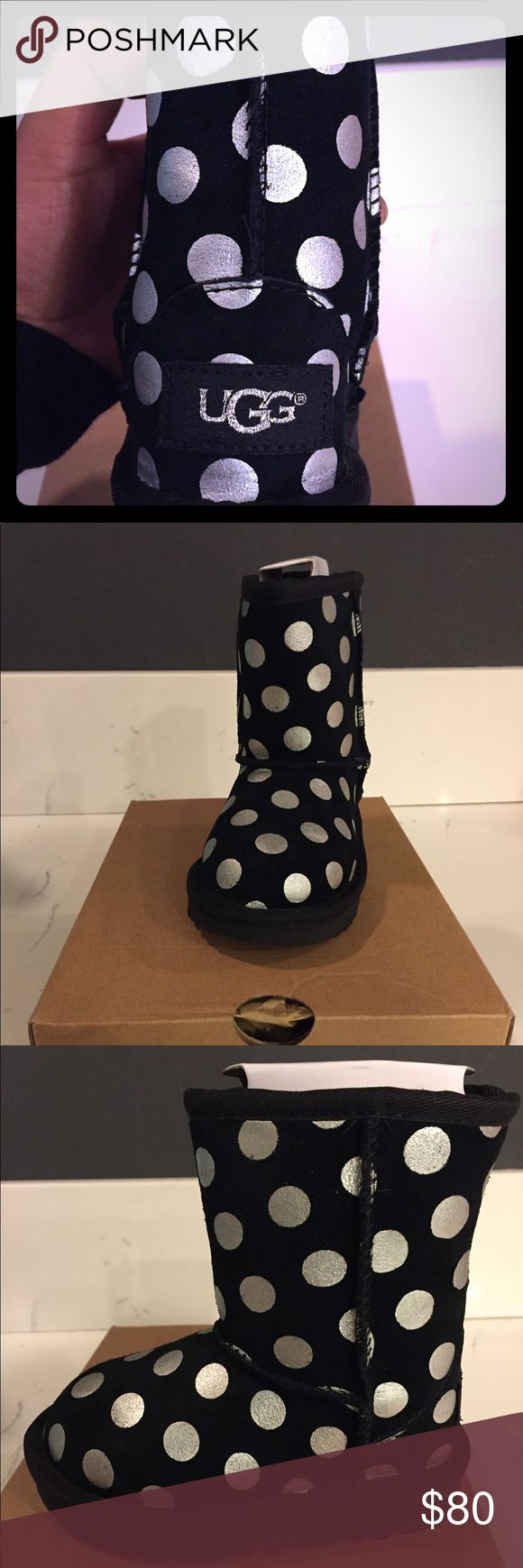 Toddler girl UGG boots silver polka dot Sz 6 NIB Gorgeous little baby girl Uggs. These boots are black with silver polka dots all around. New in box size 6 toddler. Purchased at Nordstrom's. UGG Shoes Boots