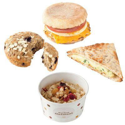 Healthy fast food breakfast: Dunkin' Donuts Egg White Turkey Sausage Flatbread Sandwich