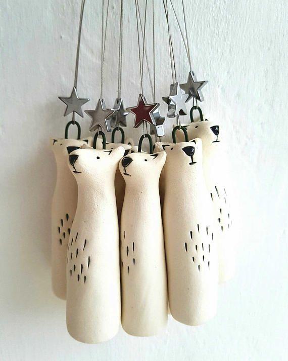 Porcelain Polar bear ornament – North Star- bear with star- Polar bear decoration-free UK shipping