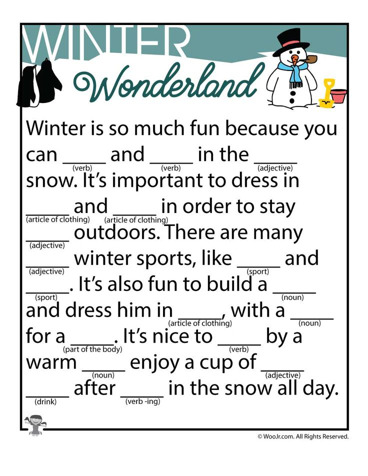 Set of Winter Mad Libs