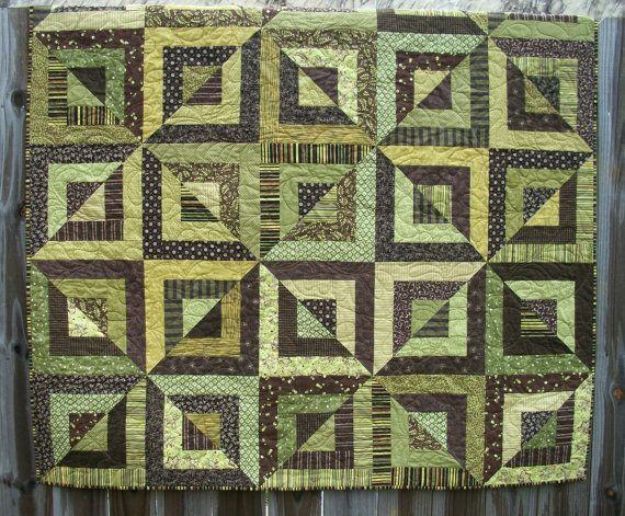 Beveled Blocks Quilt Green Brown Handmade Ready by atthebrightspot, $305.00