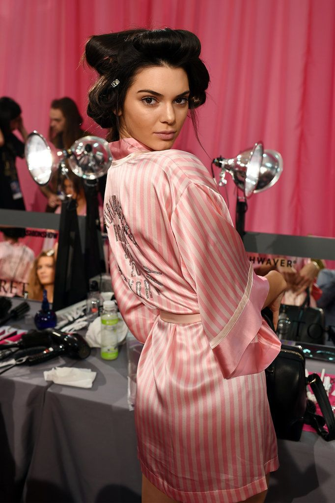 Kendall Jenner primping backstage at the Victoria's Secret Fashion Show