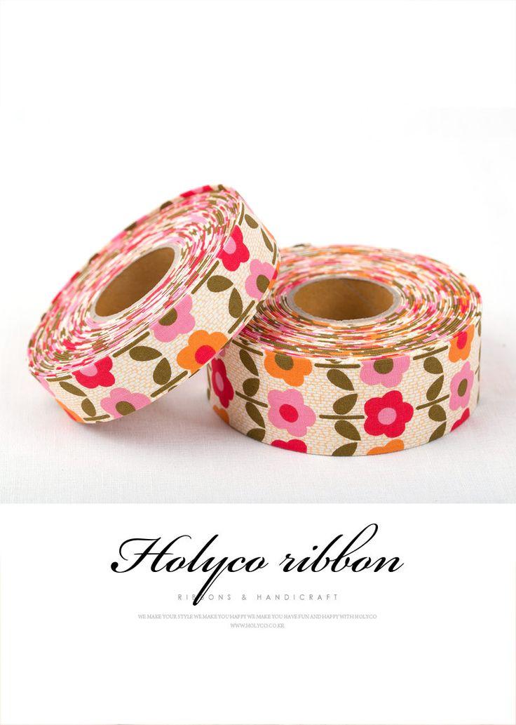 Jenny's Flower Patterns Folding Cotton Ribbon / 1''(25mm), 1/6''(40mm) / made in korea by HOLYCO on Etsy